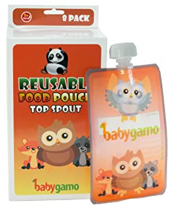 Baby Gamo Reusable Food Pouch 6 Oz (8 Pack)