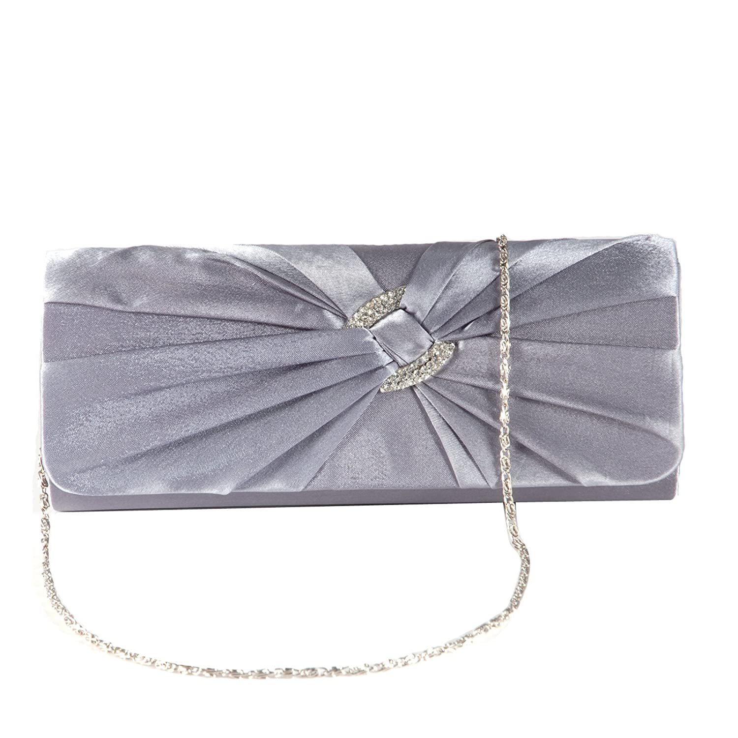 0129ae65aa9 Anladia Satin Diamante Pleated Evening Clutch Bag Bridal Handbag Prom Purse  (Dark Grey): Amazon.co.uk: Shoes & Bags