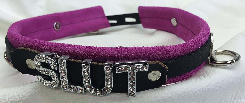 "Custom locking leather choker 1/"" wide collar Choose any word /& color"