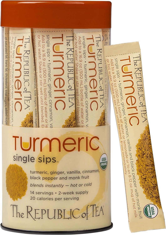 The Republic of Tea Organic Turmeric Single Sips, Instant Turmeric Herbal Tea (14 Single-Serve Packets)