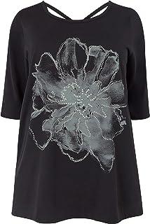 Yours Clothing Women/'s Plus Size Black Stud Flower Cross Back Top