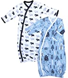 Cambria Baby Organic Boy Kimono Gowns. Side Snaps, Built in Mitts. 2 Pk. 0-3