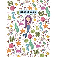 "Sketchbook: Cute Mermaid and Sea Sketchbook for Girls, 110 Pages, 8.5"" x 11"",Large Notebook For Drawing, Sketching, Journaling, Doodling, Coloring, Designing, Painting, Writing(Sketch Artists)"