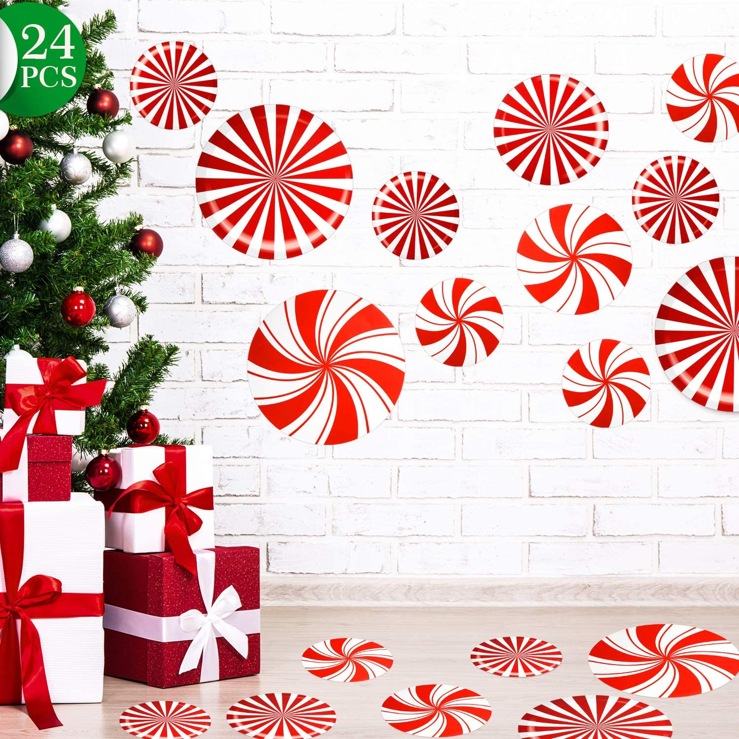 Outus 24 Pieces Peppermint Floor Decals Stickers for Christmas Decoration Candy Party Supply Red and White Large Decals for Floors, Windows, Counters and Walls (Straight and Bent Stripes A)