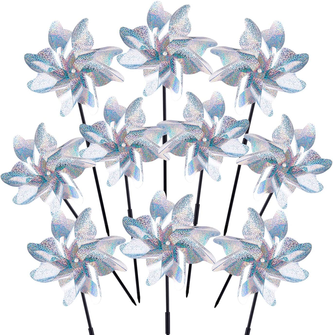 WXJ13 10 Pack Reflective Pinwheels with Stakes Extra Sparkly Pin Wheel Silver Mylar Pinwheels Sparkly Holographic Pin Wheels for Yard and Garden Party
