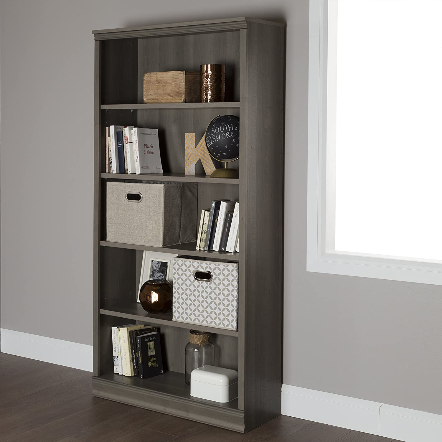 South Shore Morgan 5-Shelf Bookcase - Gray Maple