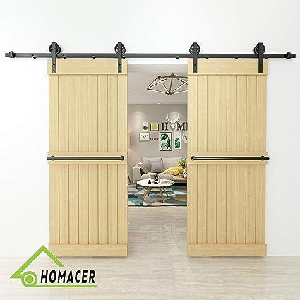 Homacer Sliding Barn Door Hardware Standard Double Door Kit 14ft Flat Track Black Wheel Design Roller Black Rustic Heavy Duty Interior Exterior Use