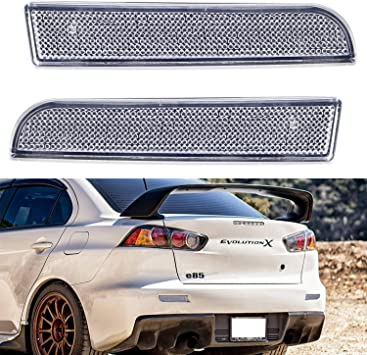 Amazon Com Ijdmtoy Clear Lens Rear Bumper Reflector Lenses Compatible With 2008 2016 Mitsubishi Lancer Evolution Evo 10 X Oe Spec Lh Rh Assembly Automotive