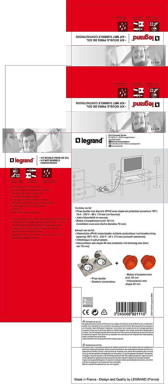 IP44 in acciaio INOX Kit presa doppia da pavimento Grigio Legrand Celiane LEG92111 Silberfarben