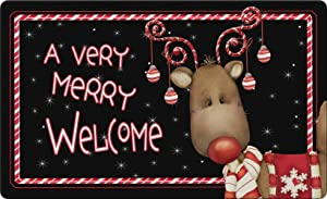 Toland Home Garden Candy Cane Reindeer 18 x 30 Inch Decorative Floor Mat Welcome Merry Christmas Ornament Holiday Doormat - 800114