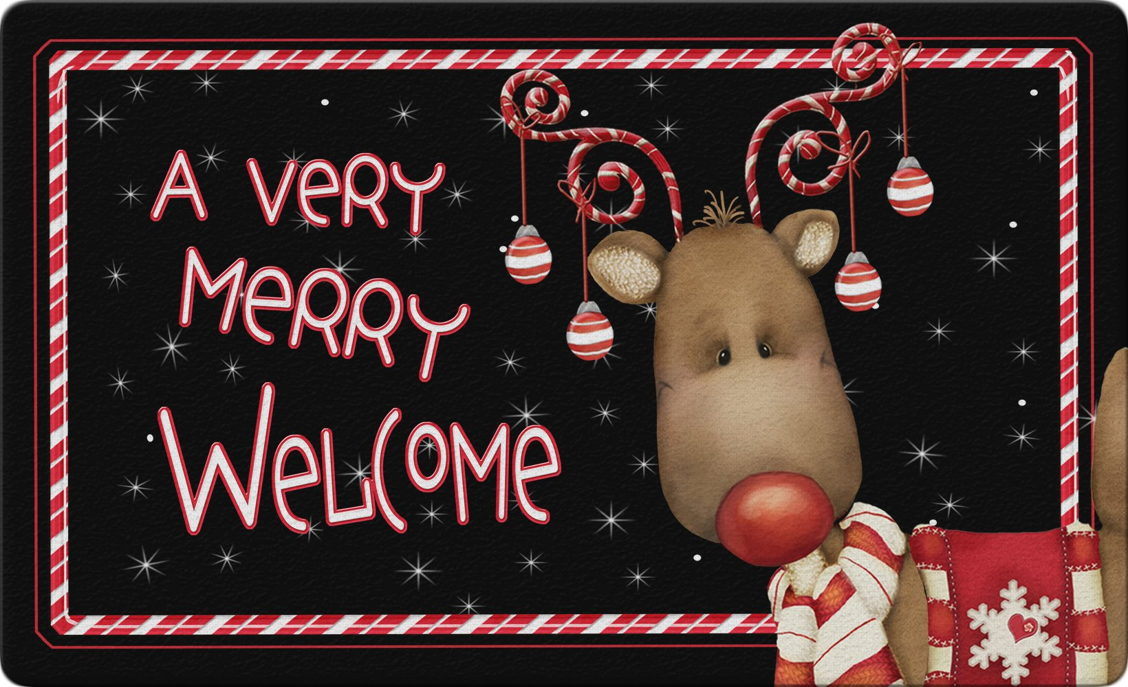 Toland Home Garden Candy Cane Reindeer 18 x 30 Inch Decorative Floor Mat Welcome Merry Christmas Ornament Holiday Doormat