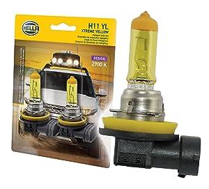 HELLA H11 Yellow-55W YL Xtreme Yellow Bulbs, 12V, 55W 2 Pack