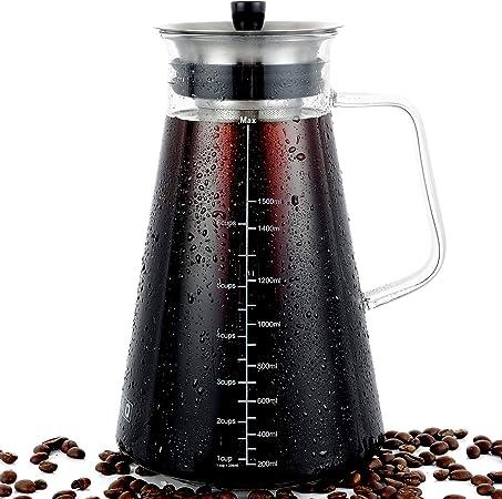 Cafetera hermética para preparar café en frío, cafetera helada, tetera, jarra de café frío, cristal de alta calidad para el hogar, fiestas, apto para lavavajillas: Amazon.es: Hogar