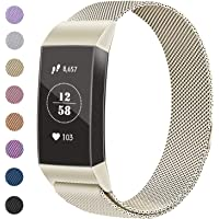 Vancle Straps Compatible for Fitbit Charge 3, Adjustable Milanese Mesh Loop Stainless Steel Metal Strap Replacement Bands with Unique Magnet Lock (ONLY Strap)