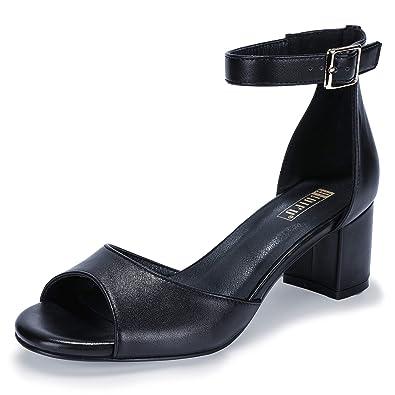 0acc3d3ef6a IDIFU Women s IN2 Candie Buckle Ankle Strap Party Shoes Peep Toe Low Block  Heel Dress Pump