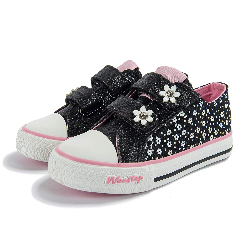 Weestep Toddler//Little Kid Glitter Double Strap Pink Sneaker