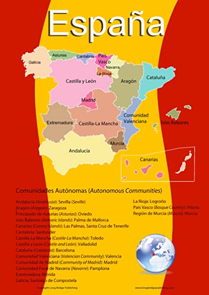 Spanish Map Of Spain.Amazon Com Spanish Language School Poster Map Of Spain With Its