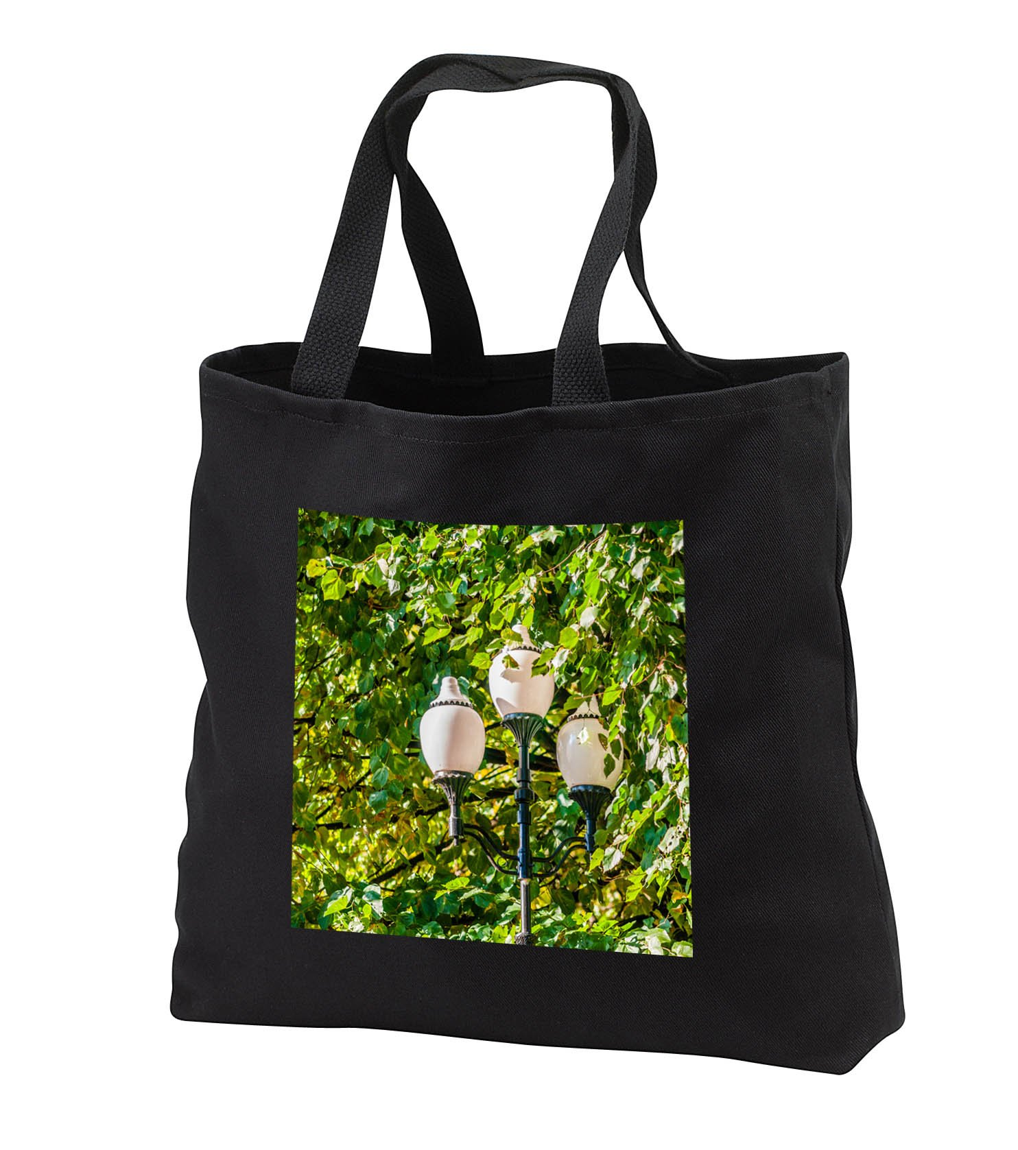 Alexis Photography - Objects - Street lamp with three white glass bulbs inside lime tree foliage - Tote Bags - Black Tote Bag JUMBO 20w x 15h x 5d (tb_283762_3)