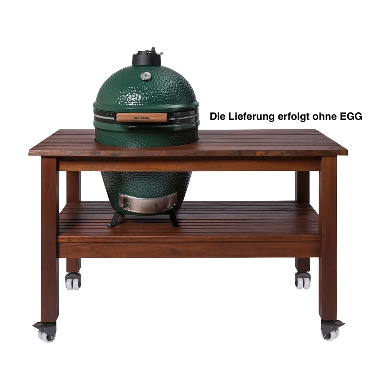 Big Green Egg Royal Mahagoni Tisch XLarge ohne Egg 165x93x85 cm fahrbar