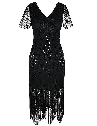 2f5f80de9c1 PrettyGuide Women s 1920s Dress Art Deco Sequin Fringe Flapper Dress with  Sleeve S Black