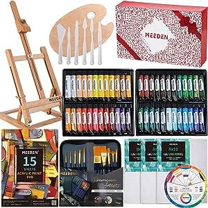 MEEDEN 71-Piece Acrylic Painting Set - Solid Beech Wood Table Easel, 48×22ML Acrylic Paint Set, Canvas Panels, Acrylic Paintbrush Set, Acrylic Pad, Wood Paint Palette, Kids & Beginner Artist