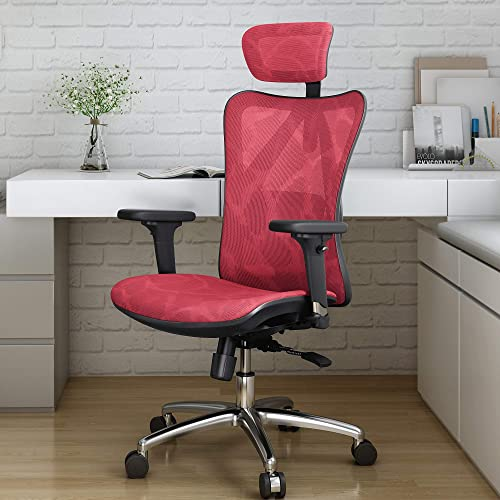 Sihoo Ergonomic Office Chair, Computer Desk Chair, 3D Adjustable High-Back, Breathable Skin-Friendly Mesh with Armrest, Lumbar Support Red