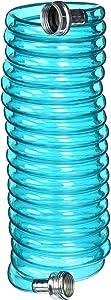 Plastair SpringHose PUW615B9-M-3OT-AMZ Light Polyurethane Lead Free Drinking Water Safe Marine/RV Recoil Hose, Blue Translucent, 3/8-Inch by 15-Foot