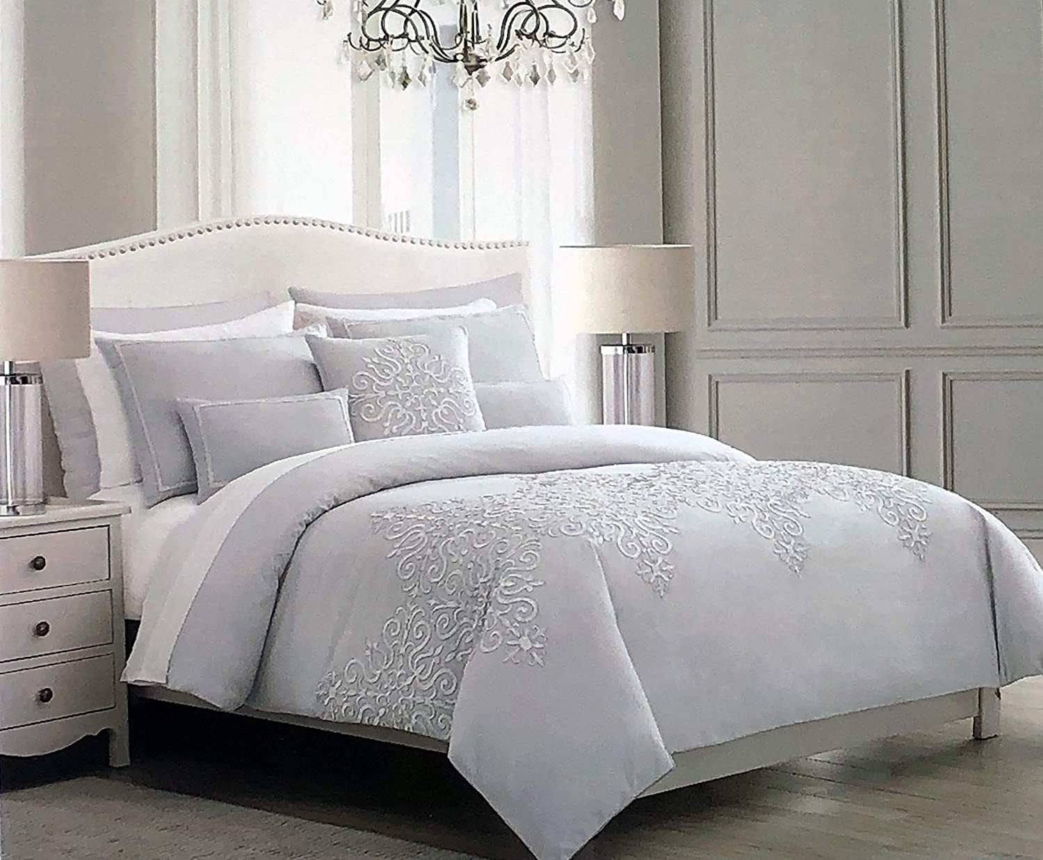 Tahari 3pc Duvet Cover Set Solid Light Gray with an Embroidered Silver Metallic Thread Scroll Pattern Comforter Quilt Cover Shams 100% Cotton Luxury (Queen)