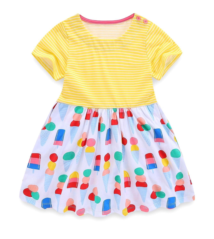 ac3086f2e9f2bd Adorable Cartoon Print. Casual Design For 2T 3T 4T 5T 6T 7T Girls. Toddler  Short Sleeve Girls Summer Dress