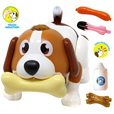 JOYIN Electronic Pet Dog, Puppy Robot Dog Toy, Touch Induction, Food Recognition, Interactive, Chasing, Walking, Dancing, Music, Remote Controlled and Fun Toys for Kids, Boys or Girls Birthday Gifts: Toys & Games [5Bkhe0203523]