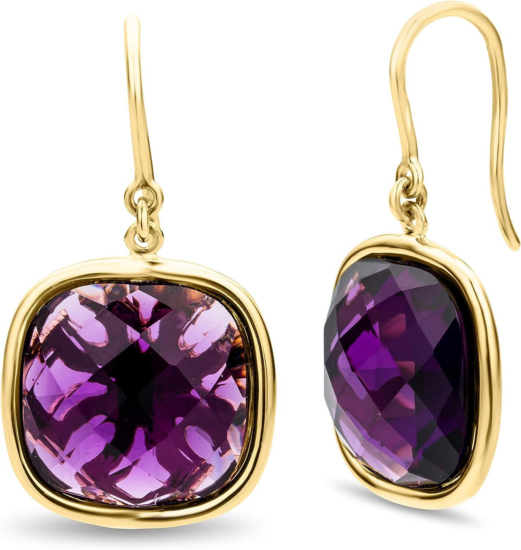 Miore - Pendientes para mujer de oro amarillo de 18 quilates/750, piedras preciosas lila, amatista de 12 quilates, joyas