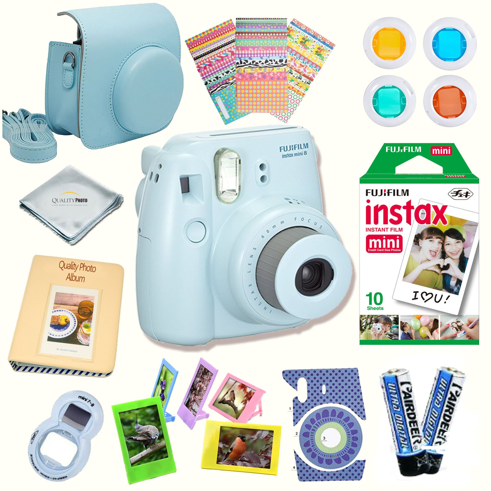 Fujifilm Instax Mini 8 Camera + Fuji INSTAX Instant Film (10 SHEETS) + 14 PC Instax Accessories kit Bundle, Includes; Instax Case + Album + Frames & Stickers + Lens Filters + MORE (Blue)