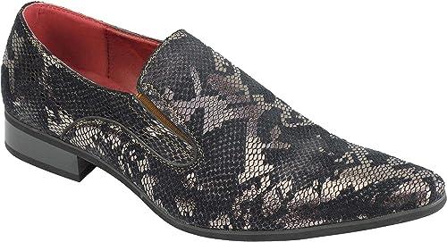 TALLA 45 EU. Piel Retro Hombres Forrado De Piel De Serpiente Metálica Imprimir Zapatos De La Boda del Partido Inteligente De Los Holgazanes