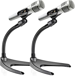Universal Adjustable Desktop Microphone Stand - Tabletop Mic Holder Low Profile Mic Stand w/Flexible 8.2'' Gooseneck Mount & U Shape Base - Table Tops, Desk, Podium, Counter Use - Pyle PMKS8X2 (Pair)