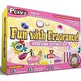 Playz Fun Perfume Experiments Science Lab Kit - DIY Fizzy Bath Bombs, Crystal Potpourri, Aromatic Sand, Rose Tonics, Scented Bath Salts, Body Butter & Oils using STEM, Biology & Chemistry