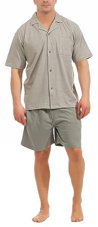 55d7f328f6 Eleganter Herren Shorty Pyjama Kurzarm Schlafanzug zum durchknöpfen - 181  105 90 512, Größe: