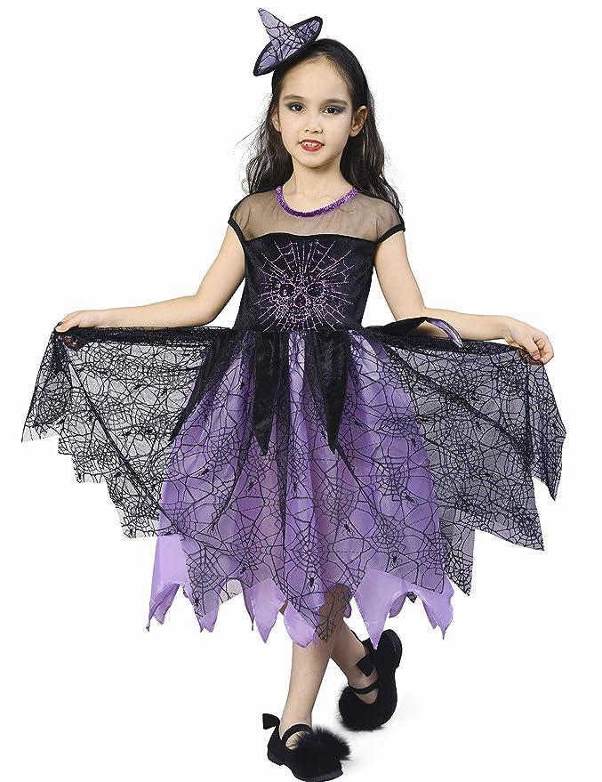 IKALI Disfraz Bruja Niña Halloween, Araña Esqueleto Vestido de Carnival 7-8años