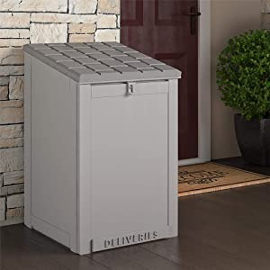Cosco Outdoor Living BoxGuard, Large Lockable Package Delivery and Storage Box, 6.3 Cubic feet, Light Gray