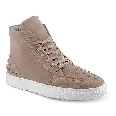 FiveSix Herren Sportschuhe High Top Sneaker Nieten Basketballschuhe Gesteppt Velours-Optik Freizeitschuhe Schuhe