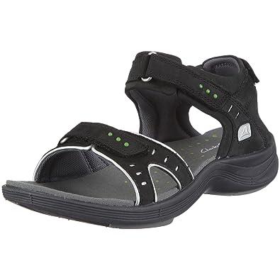 5745f941a400 Clarks Wave Edge T Ty Outdoor Sandals Womens Black Schwarz (Black ...