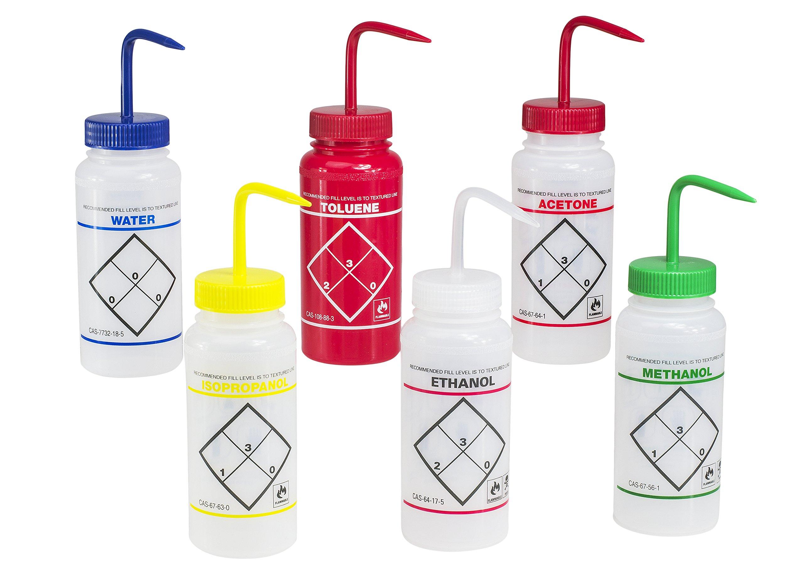 Bel-Art Safety-Labeled Assorted 2-Color Wide-Mouth Wash Bottles; 500ml (16oz), Polyethylene w/Polypropylene Cap (Pack of 6) (F11646-0050)