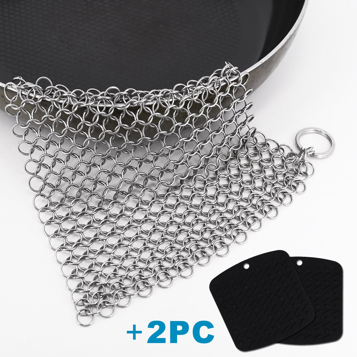 scrubbing brushes,Cast Iron Cleaner 8 x 6 Inch 316L Stainless Steel Chainmail Scrubber with 2 Pack Silicone Trivet Mat
