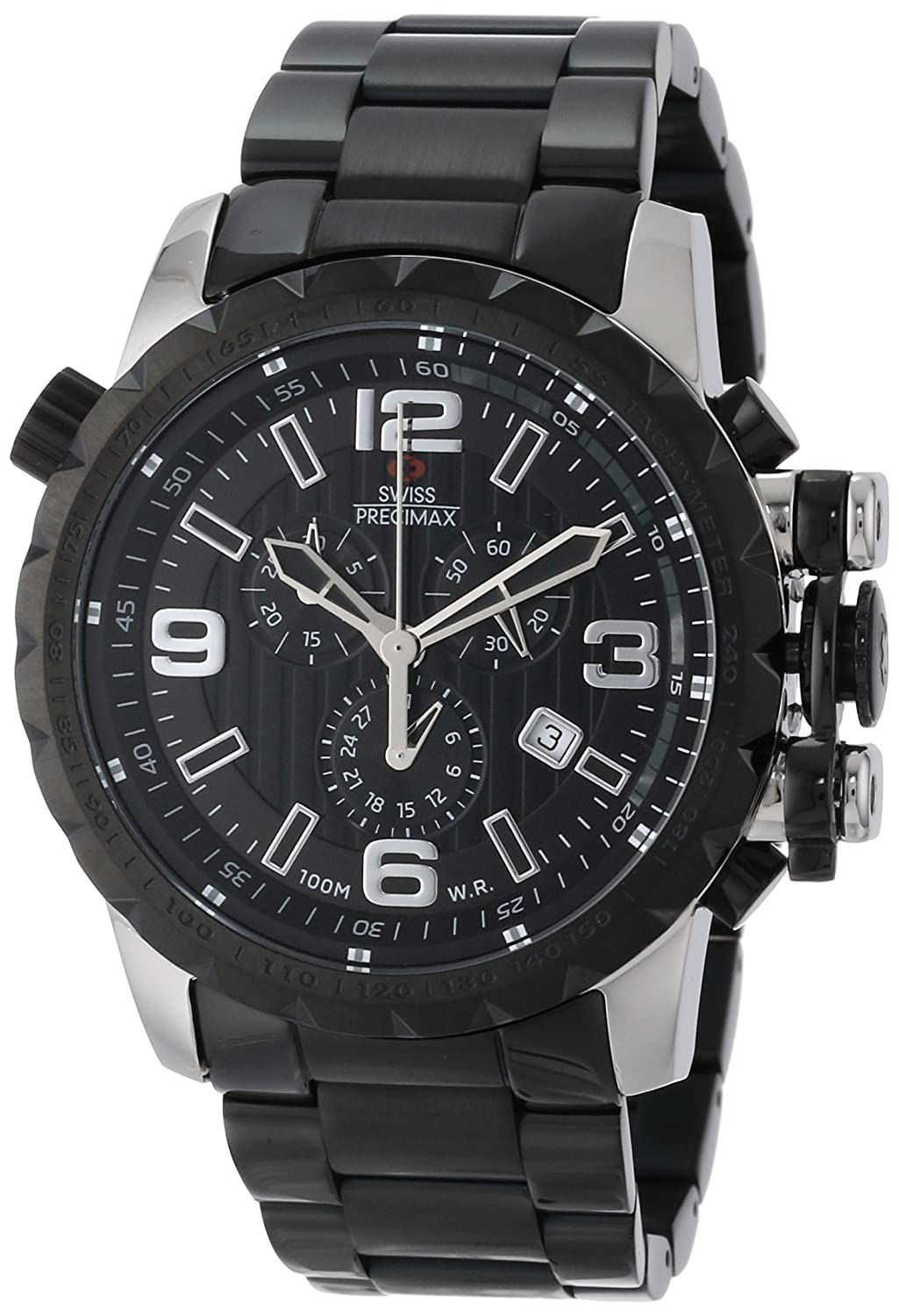 Swiss Precimax Men 's sp13142 Magnus Pro Black Dial with BlackステンレススチールBand Watch B00DBEZZPW