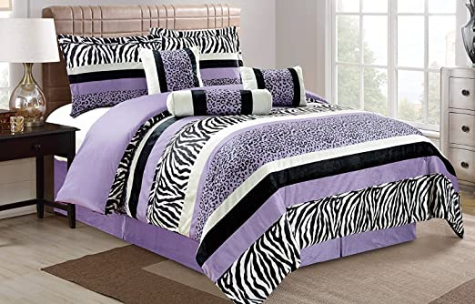 7 Piece Oversize Light PURPLE Black White Zebra Leopard Micro Fur Comforter  set Full Size Bedding - Teen, Girl, youth, Tween, Children\'s Room, Master  ...