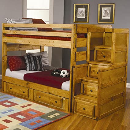 Amazon Com Full Size Bunk Bed With Stairway Chest In Amber Wash