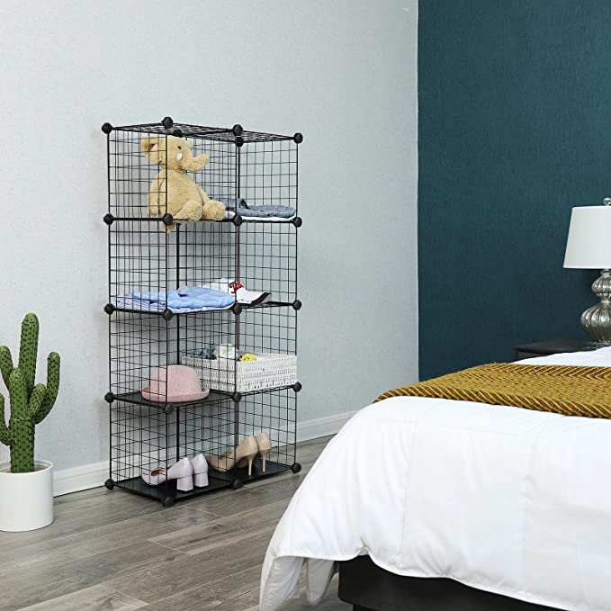 Amazon.com: SONGMICS Metal Wire Storage Cubes, DIY 9-Cube Closet ...