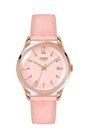 Henry London Reloj Analógico para Mujer de Cuarzo con Correa en Cuero 5018479079903: Amazon.es: Relojes