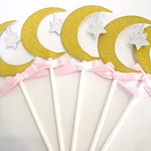 Lucas shops 24 Golden Moon and Silver Star Cupcake Toppers Wedding Birthday Fruit Food Cupcake Picks for Birthday Party Baby Shower