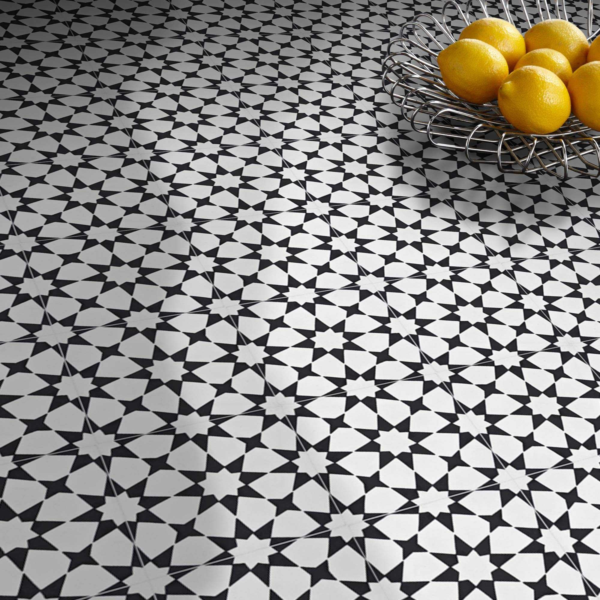 Moroccan Mosaic & Tile House CTP18-03 Medina 8''x8'' Handmade Cement Tile,Pack of 12 8'', White and Black