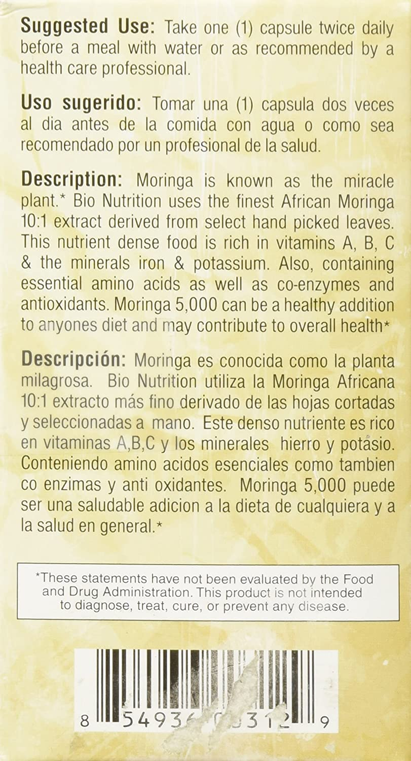 Amazon.com: BIO NUTRITION INC MORINGA 5,000 MG SUPR FOOD, 60 VCAP (Pack of 2): Health & Personal Care